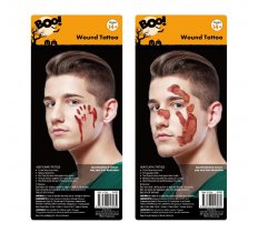 BLOODY FACE WOUND TATTOO 1 SHEET 2 ASSORTED